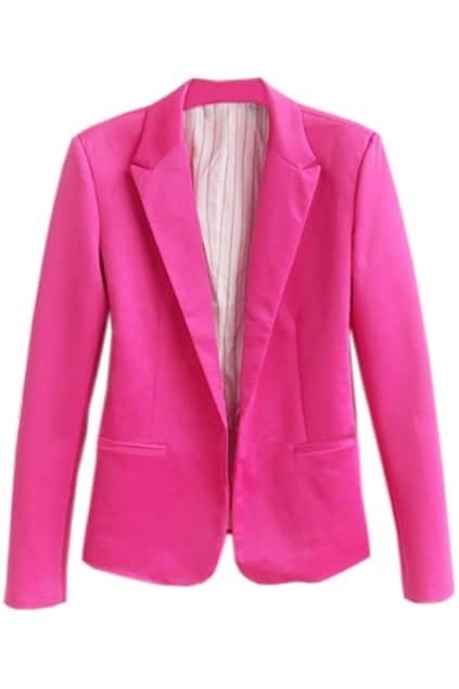 One Button Lapel Rose Blazer