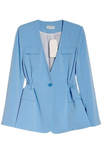 V-shaped Neck Light Blue Blazer