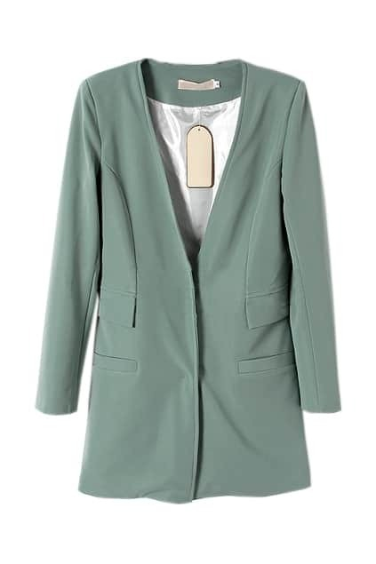 V-shaped Neck Pocket Green Blazer