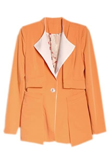 One Button Lapel Orange Blazer