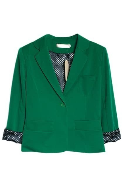 One Button Lapel Green Blazer