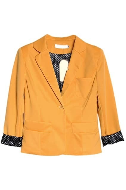 One Button Lapel Yellow Blazer