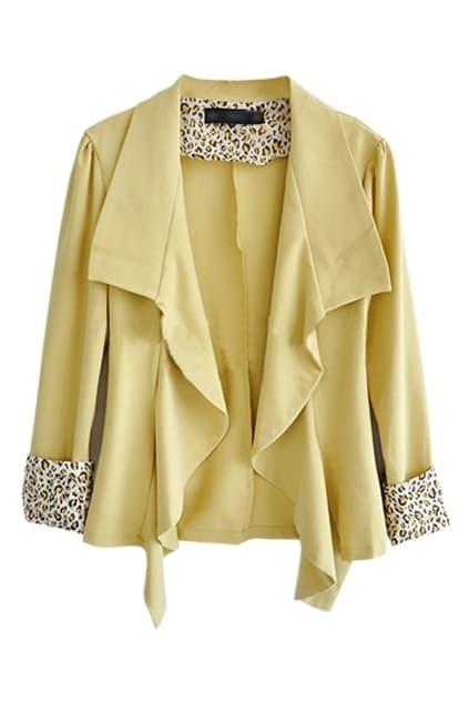 Leopard Lapel Musterd Yellow Blazer