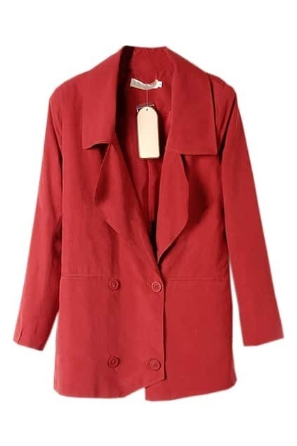 Double Button Lapel Red Blazer
