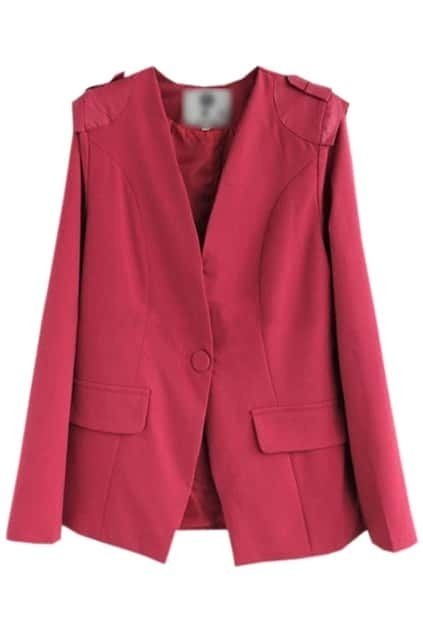 V-shaped Neck Padded Shoulder Rose Blazer