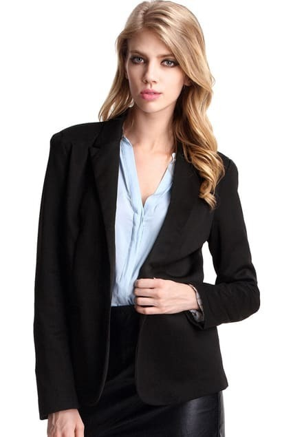 One Button Long Sleeve Black Blazer