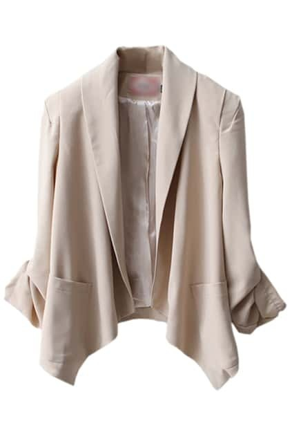 Anomalous Hem Cream Blazer