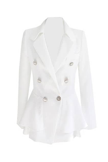Swallow-tailed Hem Button White Blazer