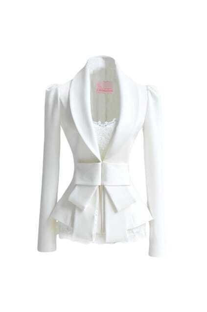 Big lapel Bowknot White Suit