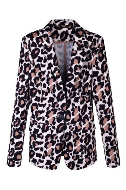 One Button Leopard Yellow Blazer