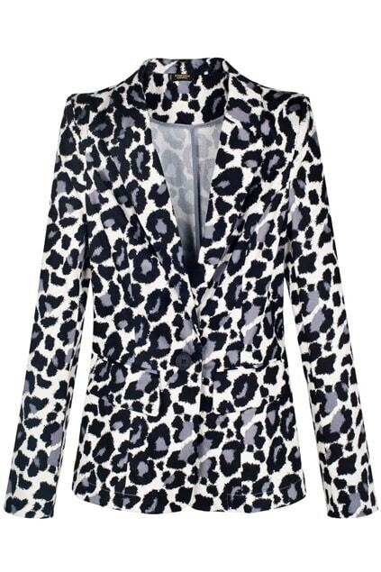 One Button Leopard Black Blazer