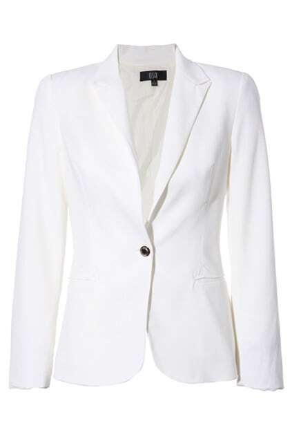 Lapel One Button  White Blazer