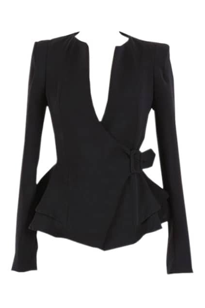 Peplum Waist Buckled Black Suit