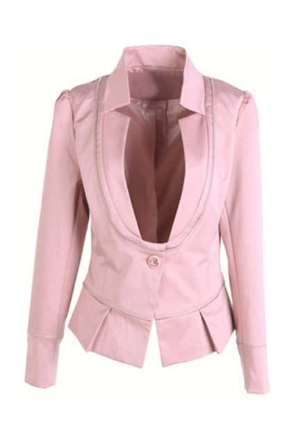 One Button Zip Splicing Pink Blazer