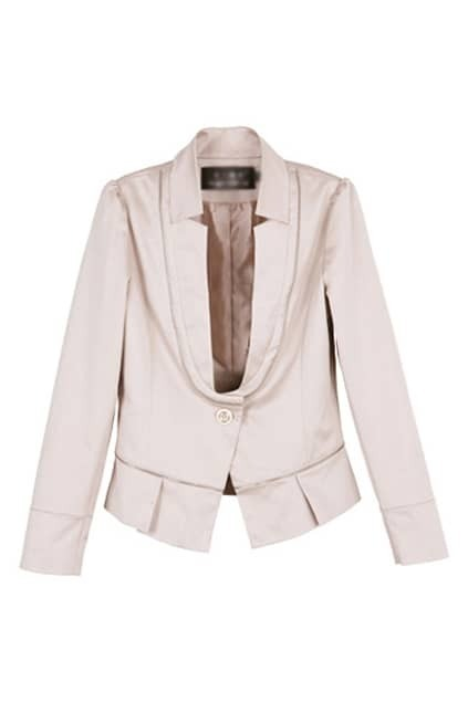 One Button Zip Splicing Cream Blazer