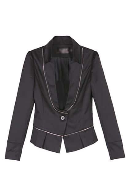 One Button Zip Splicing Black Blazer
