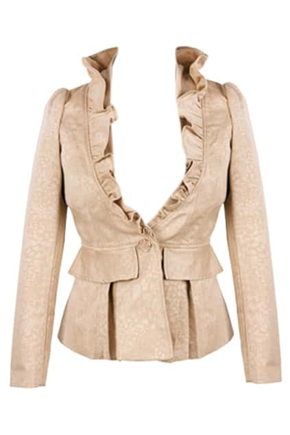 One Button Flouncing Light Camel Blazer