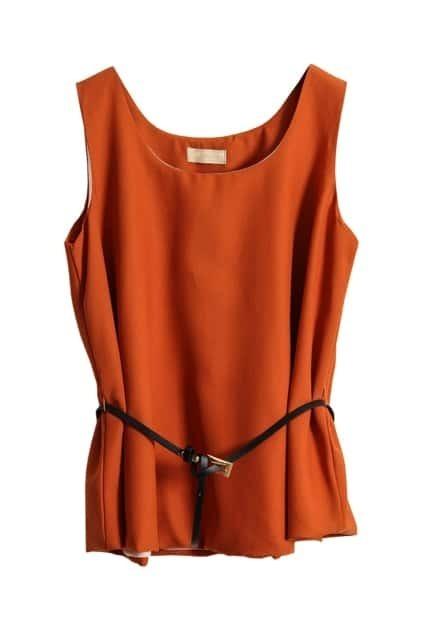 Dark Orange Belted Vest