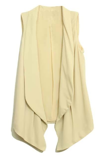 Shawl Collar Sleeveless Apricot Vest