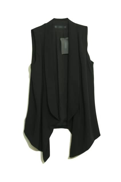 Shawl Collar Sleeveless Black Vest
