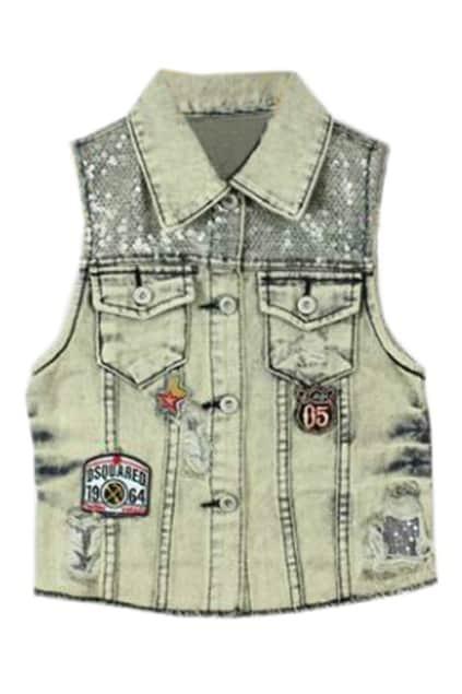 Retro Style Distressed Demin Vest