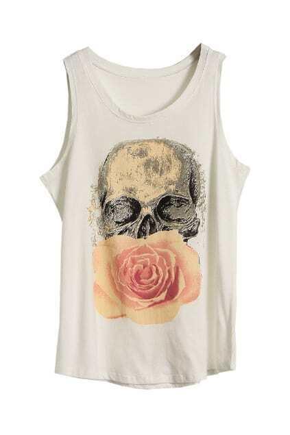 Skull Floral White Vest