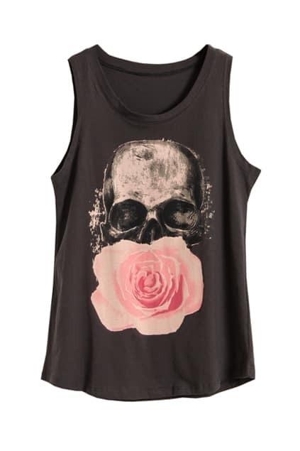 Skull Floral Dark Grey Vest