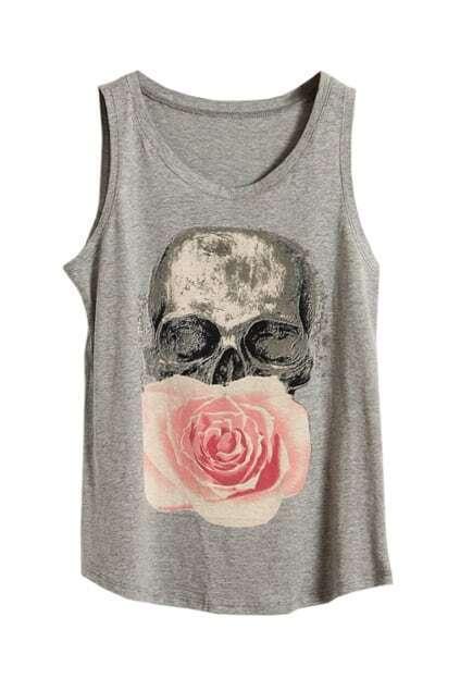 Skull Floral Light Grey Vest