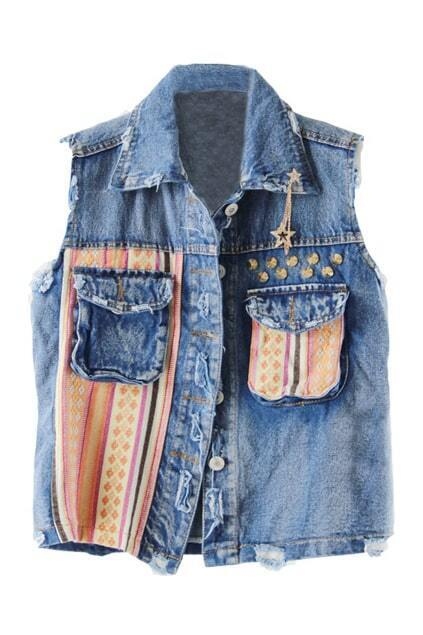 National Style Montage Denim-blue Denim Vest