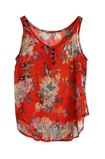 Butterfly Print Red Vest