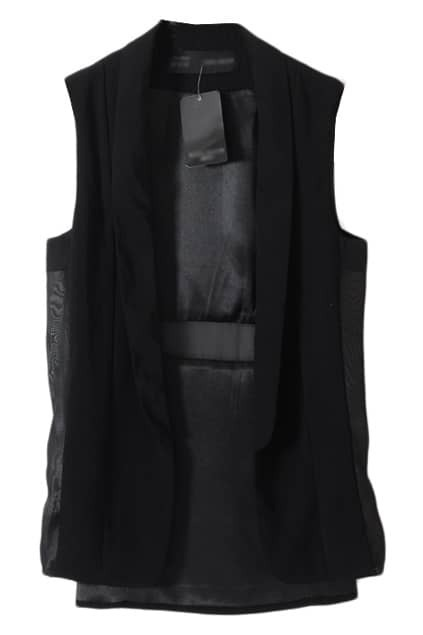 Splicing Chiffon Black Vest