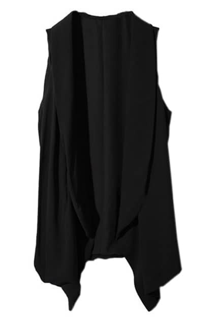 Irregular Cut Drape Black Vest