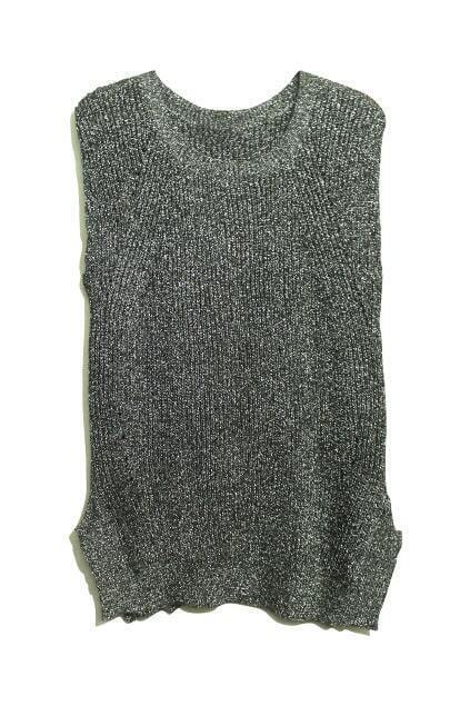 Sleeveless Paillette Knitting Silver Vest