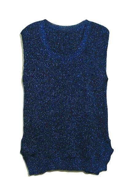Sleeveless Paillette Knitting Blue Vest