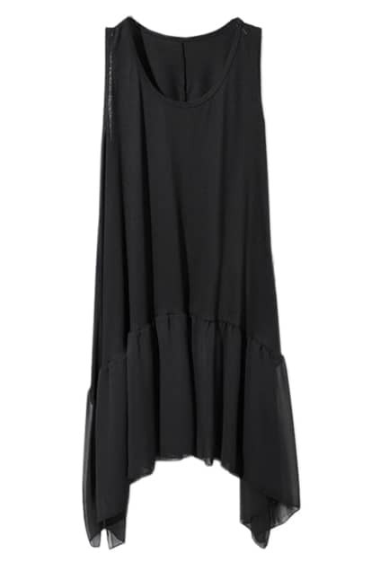 Splicing Falbala Sleeveless Black Vest