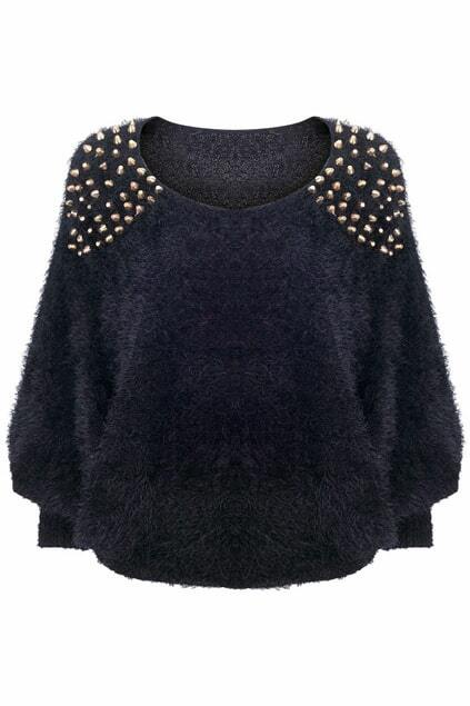 Rivets Detailed Black Fluffy Jumper