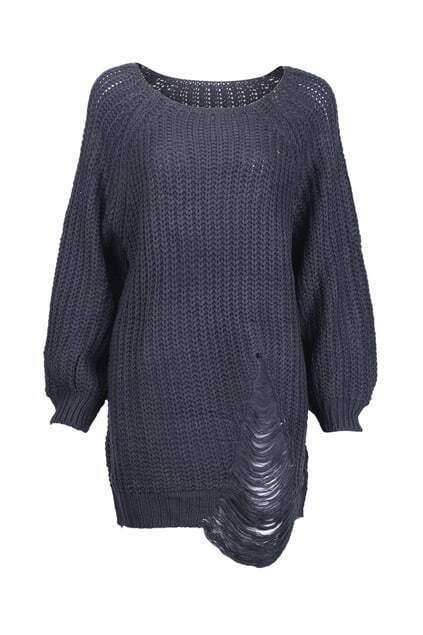 Chunky Knit Distressed Black Jumper