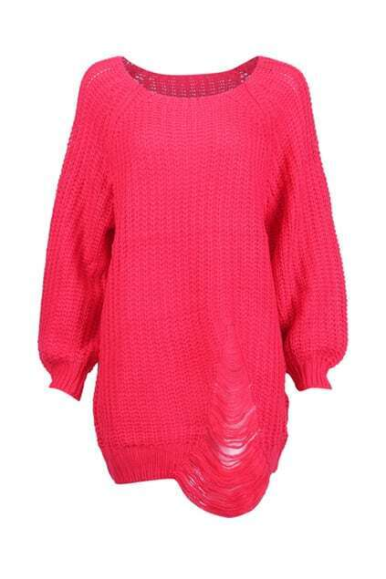 Chunky Knit Distressed Watermelon-red Jumper