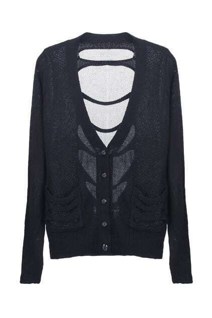 Cut-out Mesh Detailed Cardigan