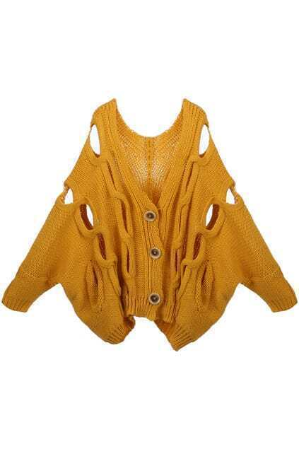 Chunky Knit Cut-out Beige Cardigan