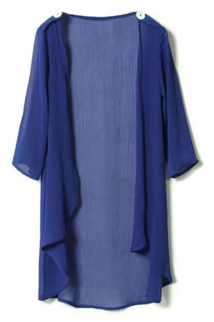 Apaulet Embellished Cropped Sleeve Blue Cardigan