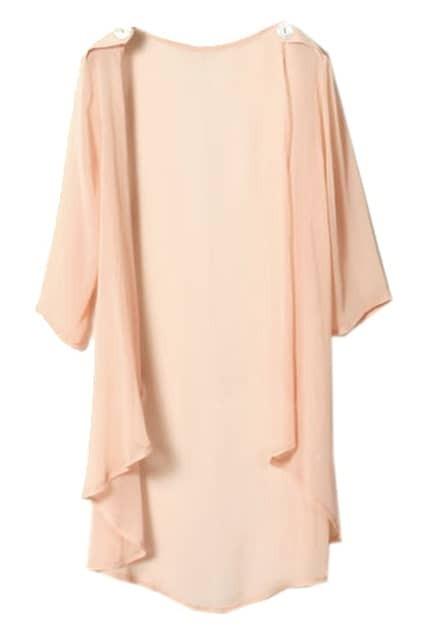Apaulet Embellished Cropped Sleeve Pink Cardigan