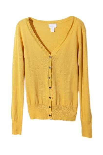 Retro Knitted Yellow Cardigan