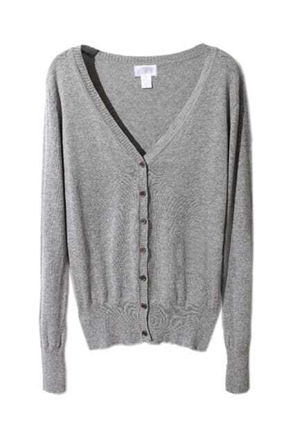 Retro Knitted Grey Cardigan