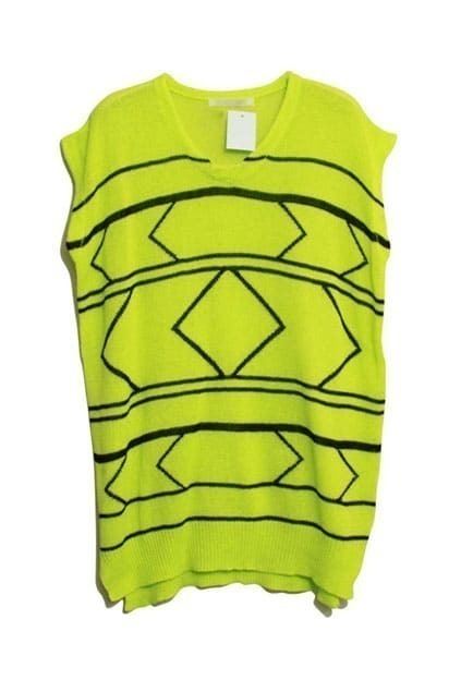Oversized Sleeveless Fluorescent Green Jumper