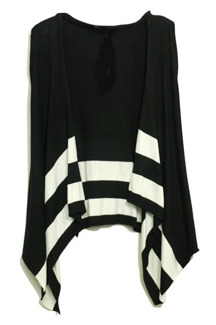 Stripes Hooded Sleeveless Black Cardigan