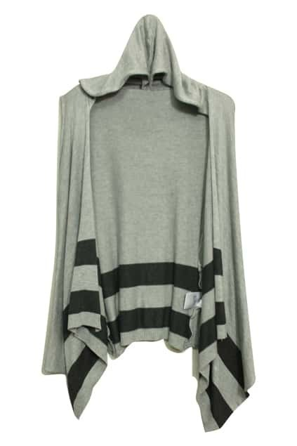 Stripes Hooded Sleeveless Grey Cardigan