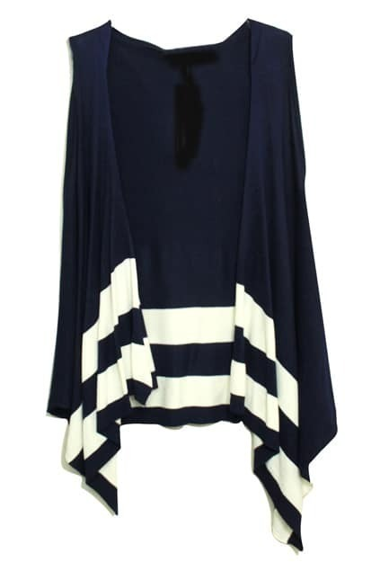 Stripes Hooded Sleeveless Navy-blue Cardigan