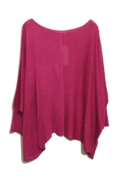 Batwing Sleeves Oversized Amaranth Jumper