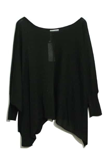 Batwing Sleeves Oversized Black Jumper